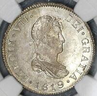 1819-NG NGC MS 64 Guatemala 2 Reales Colonial Spain Silver Coin (19080202C)