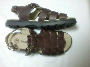 TIMBERLAND 68972  LEATHER WOVEN SANDAL - BROWN - 4M