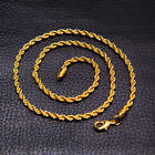 6mm 18k Yellow Gold Plated Twisted Wrest Rope Chain Necklace Mens Jewelry Gift