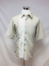 Centro Lounge Bowling Rockabilly leaf Embroidered Button Front Shirt - SIZE XL