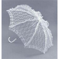 ladies white lace parasol fancy dress umbrella victorian