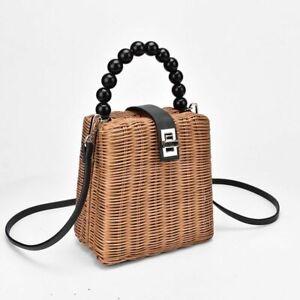 Bead Hand-woven Straw Bag Women Samll Tote Bags For Summer Travel Handle Bag New