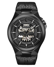 Bulova 98A238 Men's Maquina Automatic Stainless Steel Black Leather 46mm Watch