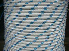12MM Double Braided Rope Polyester Yacht Rope 27 Metres White Blue Fleck