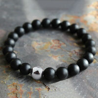 1PC Mens Matte Black Onyx Yoga Energy Beaded Bracelet Boyfriend Gift for Him