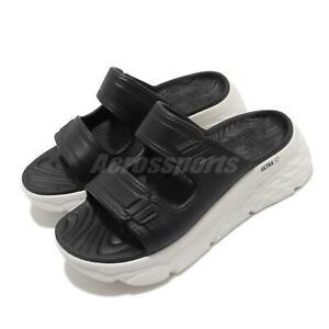 Skechers Max Cushioning-Incite Black White Women Platform Sandals 111125-BKW