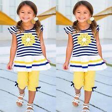 Toddler Kids Baby Girls Outfits Clothes T-shirt Tops Dress+Pants Shorts 2PCS Set