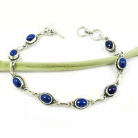 NATURAL LAPIS LAZULI GEMSTONE SOLID 92.5 STERLING SILVER HANDMADE BRACELET #UK12