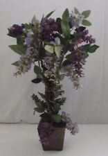 HOME INTERIORS PURPLE WISTERIA FLORAL TOPIARY vase plant green leaves flowers