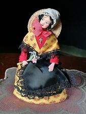 "Vintage French 8"" Papier Mache Doll Purse Les Poupees Gracienses"