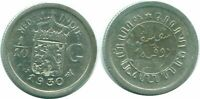1930 NETHERLANDS EAST INDIES 1/10 GULDEN SILVER Colonial Coin #NL13447.3C