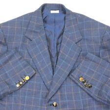 Brioni Men's Traiano Linen/Silk Windowpane Check Blazer Blue Italy • Size 40S