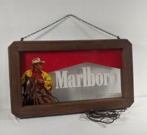 Vtg Marlboro Man Cowboy Lighted Bar Sign Philip Morris Cigarette Advertisement