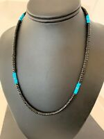 Mens Navajo Native Amer Blue Turquoise Heishi Onyx Sterling Silver Necklace 8823