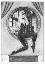 BLACK CAT Spider-man Felicia Mary Jane PIN-UP SEXY ORIGINAL ART gwen latex venom