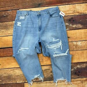 American Eagle Curvy Mom Jeans Plus Size 24 Womens Distressed Raw Hem Tapered