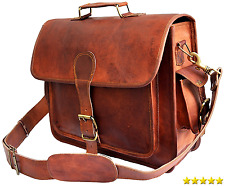 jaald Mens Genuine Leather Large 15.6 Laptop Case for computer bag shoulder