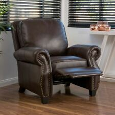 Jasmine Contemporary Brown Faux Leather Push Back Recliner with Nailhead Trim
