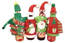 Wine Bottle Ugly Sweater Set of 4 Christmas Bottle Covers Wine Christmas Party