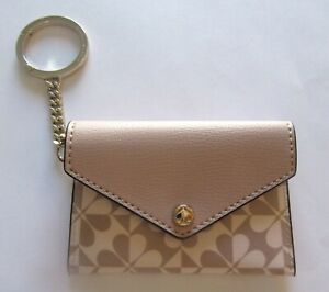 kate spade Card Case key fob/ring- rectangular-light pink beige- flowers