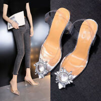 Women Clear Transparent Ankle Strap Sandals Rhinestone Pointed High Heel Shoes H