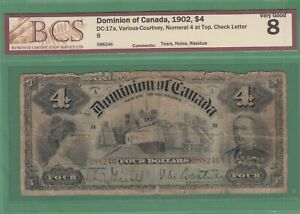 1902 Dominion of Canada $4 Dollars Note - Numeral 4 at the Top - BCS VG-8