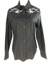 Roja Western Shirt Black Silver Bead Embroidery Yoke Button Long Sleeve S Small