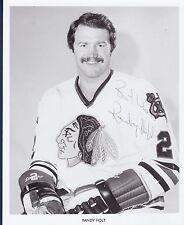 Randy Holt signed Chicago Blackhawks vintage team issued photo