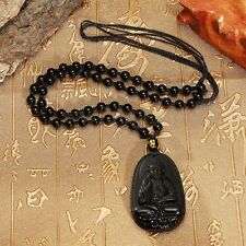 Black Natural Obsidian Carved Lucky Buddha Pendant Chain Beads Necklace Amulet