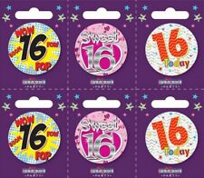 Holographic I AM 16 TODAY Happy 16th Birthday Badge Girl Boy Pink Blue 55mm