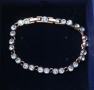 "SWAROVSKI 5039938 Bracelet Tennis white,rose gold. 17cm/6.8"""