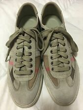 Burberry Nova Check Pattern Beige Canvas Suede Casual Low Top Sneakers Shoes 41