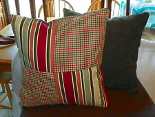 Pair of Brown Red Tan Stripe Patchwork Print Throw Pillows  18 x 18