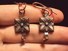new square starburst striped textured flower design copper wire dangle earrings