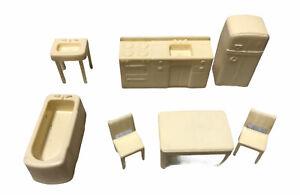 VTG Marx Dollhouse Furniture Kitchen & Bathroom 7 PC LOT White 1950s