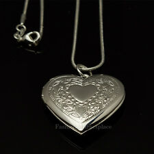 "925 Sterling Silver Heart Photo Locket Pendant Necklace 18"" Love Mother Daughter"