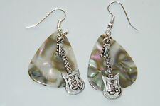 GUITAR PICK EARRINGS FAUX ABALONE EARRINGS & GUITAR CHARMS SILVER EAR WIRES NEW!