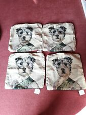 """Tapestry Cushion Covers x 4 with soft  feel back 18"""" x 18"""" COLONEL (Westie)"""