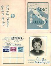Tessera Touring Club Italiano (TCI) - Milano, 1954/55/56
