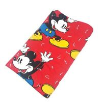 "VTG Mickey Mouse Walt Disney Fringe Throw Blanket Tassel Retro Red 60"" X 48"""