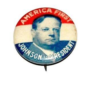 1920 HIRAM JOHNSON FOR PRESIDENT campaign pin pinback political button election