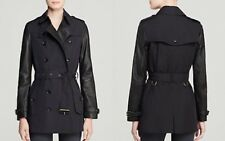 BRAND NEW Womens BURBERRY BRIT SWANSBURY Trench Coat UK12 US10 leather sleeves
