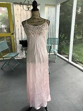 Vtg NWT VICTORIA'S SECRET Gold Label Pale Pink Silk Full Length Slit Gown Small