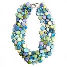 NEW LUSTROUS MULTI BLUE 6 STRANDS OF MOTHER OF  PEARL  COIN DISC NECKLACE