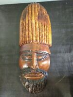 "Vintage African Tribal Mask Hand Carved Wood Wall Hanging 18"" Bearded"