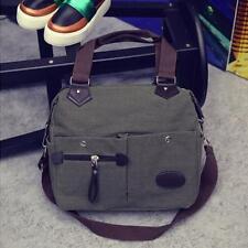 Fashion Men Canvas Leather Satchel Travel School Military Shoulder Messenger Bag