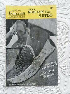 Original 1930's/40's Knitting Pattern Men's Moccasin Type Slippers Homecraft 302