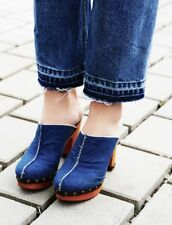 NEW Free People Denim blue Wood Platform Open Back Hi Heel Studded Clog Shoe 9