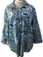 Van Heusen blouse top size 2XL blue green paisley 3/4 sleeve cotton button down