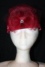 Women's Maroon Satin Pillbox Dress Hat